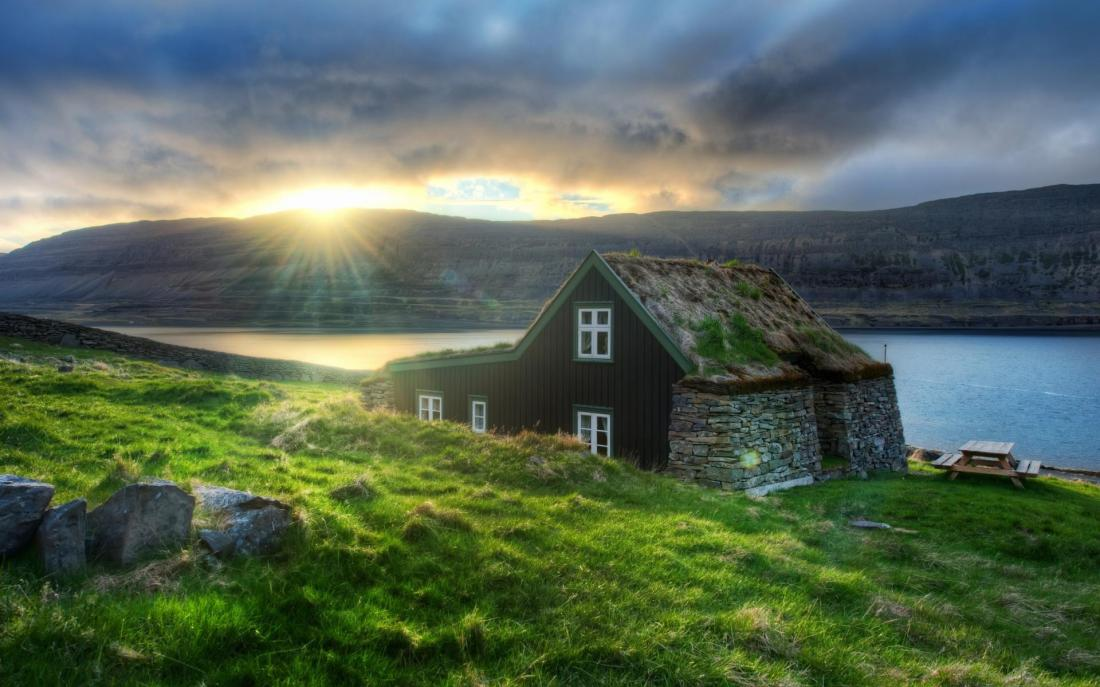 Iceland sunset cabin